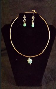 Kingman Turquoise Necklace and Earring Set